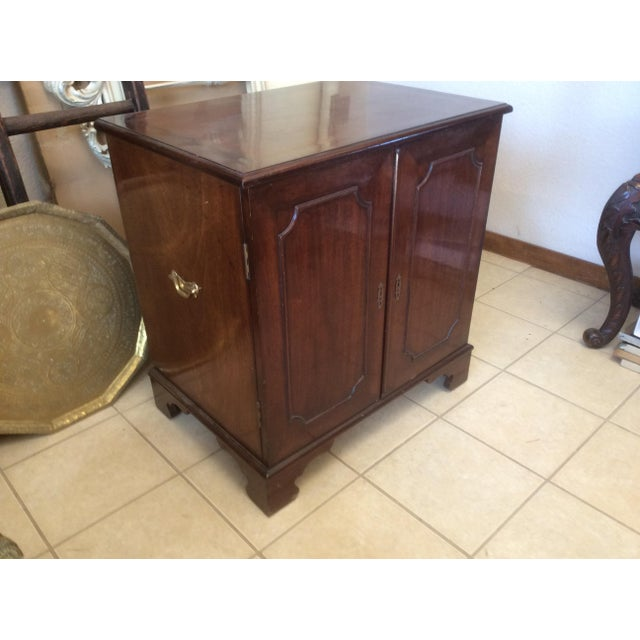 Classic Mahogany Two Door Cabinet With Handles For Sale - Image 10 of 10