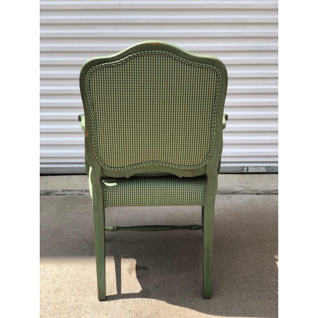 Late 20th Century Antique French Gingham Fabric & Dog Detailing Chair For Sale - Image 4 of 9