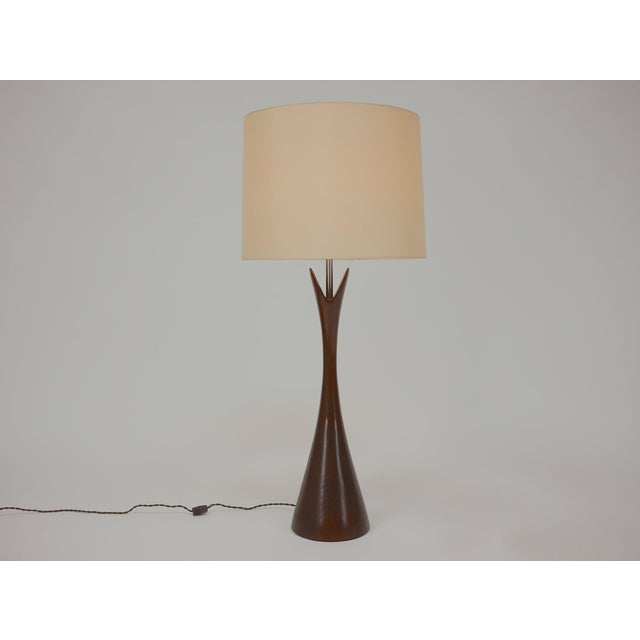 Walnut Pair of Large Turned Walnut Hourglass Form Lamps by Laurel For Sale - Image 7 of 7