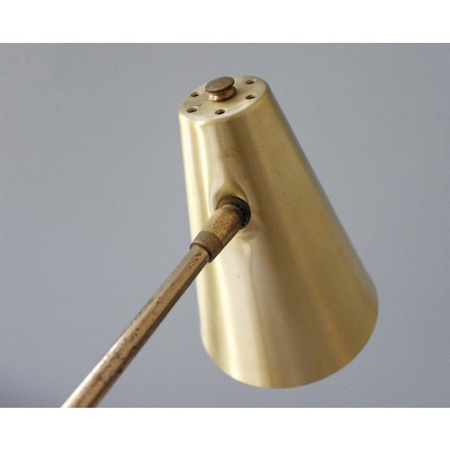 Mid-Century Modern Vintage Brass Gooseneck Desk Lamp Task Lamp Faux Wood Mid Century For Sale - Image 3 of 8