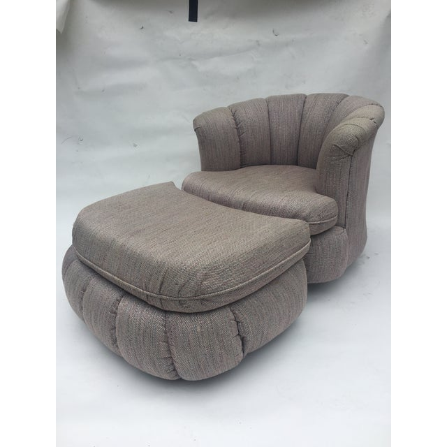 1980s Vintage Milo Baughman Style Shell Swivel Chair & Ottoman For Sale - Image 13 of 13