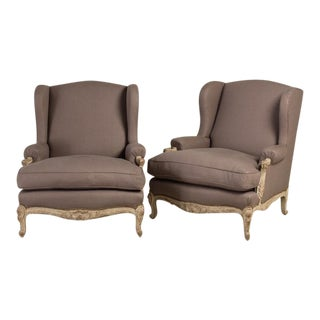 Oversized Pair of French Armchairs, Late 19th Century For Sale