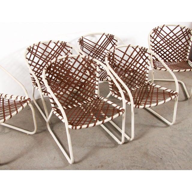 Fabulous set of 6 vintage mid century modern Brown Jordan aluminum patio dining or deck chairs! Classic Brown Jordan...