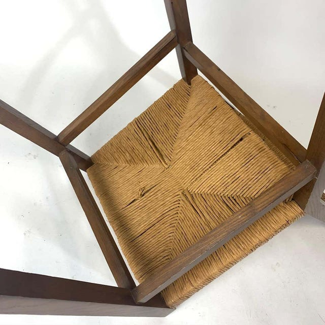 French Set of 1950s French Countryside Woven Rush Seat & Back Chairs For Sale - Image 3 of 8