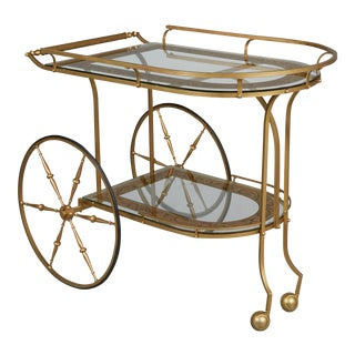 Italian Brass & Eglomise Glass Barcart For Sale