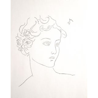 """Sarah Myers """"Woman With Roses in Her Hair"""" Charcoal Drawing For Sale"""