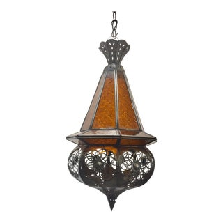 Moroccan Handcrafted Moorish Amber Glass Lantern Pendant For Sale