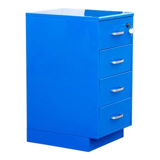 Vintage Steelcase File Cabinet, Refinished in Blue For Sale
