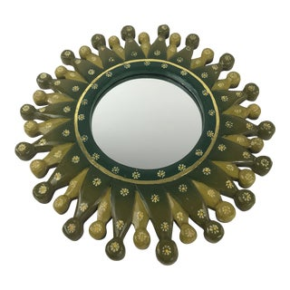 1990s Asian Modern Starburst Mirror in Greens and Gold For Sale