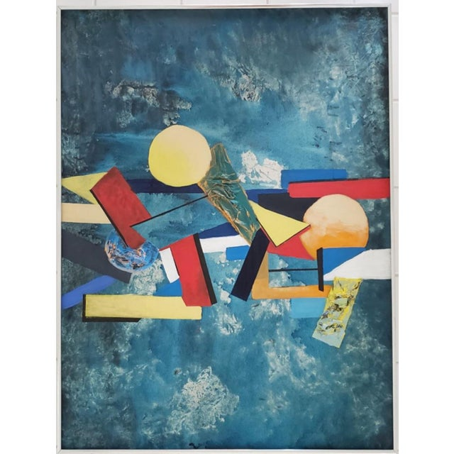 1960s 1960 Abstract Cubist Mid Century Modern Huge Original Painting For Sale - Image 5 of 10