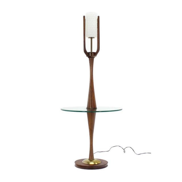 Glass Vintage Mid-Century Sculptural Floor Lamp & Attached Table For Sale - Image 7 of 11