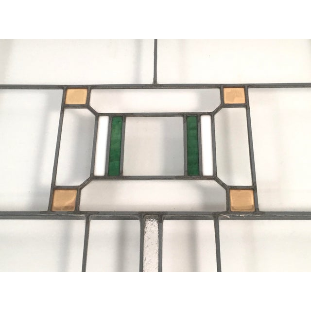 Prairie School Period Stained Glass Windows- A Pair For Sale - Image 4 of 8