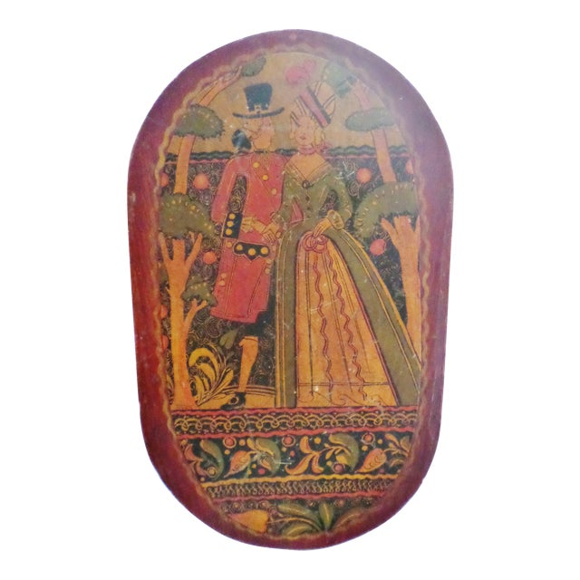 Antique Tony Sarg Nantucket Hand Painted Wooden Bride Box For Sale