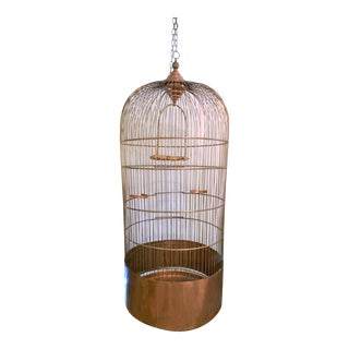 1930's Copper Bird Cage With Copper Stand For Sale