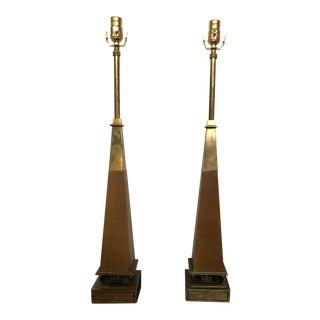 Mid-Century Modern Tommi Parzinger Brass Obelisk Lamps - a Pair