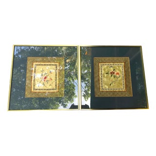 Vintage Mid Century Chinoiserie Framed Silk Embroidery Textile Art - a Pair For Sale