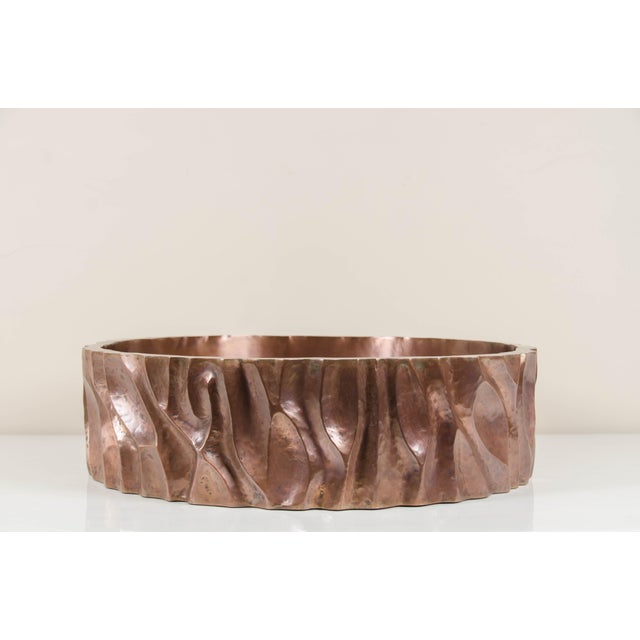2010s Low Tree Trunk Cachepot - Antique Copper by Robert Kuo, Hand Repoussé, Limited Edition For Sale - Image 5 of 5