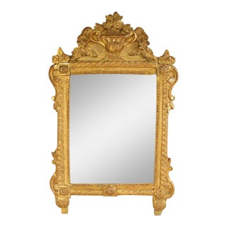 French Louis XVI Richly Carved Gilt Mirror for Vanity or Wall, 18th Century For Sale