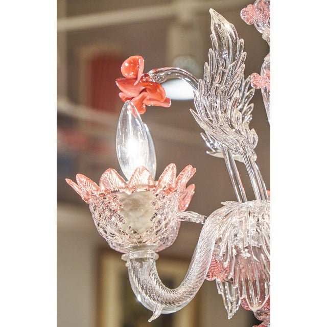 Murano Pink Rose and Crystal Glass Chandelier - Image 10 of 10