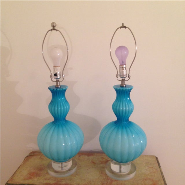 Hand Blown Aqua Glass Table Lamps - A Pair - Image 2 of 4