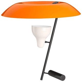 Mid-Century Modern Gino Sarfatti Model #548 Orange and Burnished Brass Table Lamp For Sale