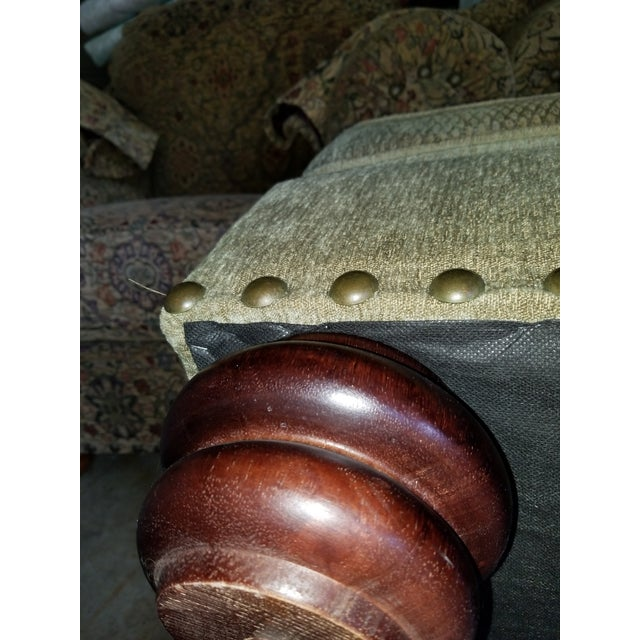 CR LAINE original ottoman foot stool bench in a soft sage green fabric. Has wood feet. No rips or tears. Very hard to...
