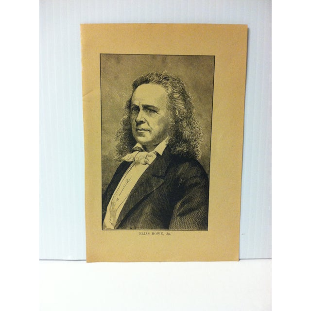 """This is an Antique Print on Paper that presents a Successful Self-Made Man and is titled """"Elias Howe Jr."""". The Print was..."""