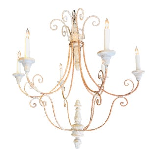 1920s Italian Painted Wood and Tole Chandelier For Sale