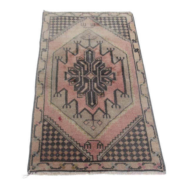 1960s Vintage Turkish Handmade Rug - 1′7″ × 2′9″ For Sale