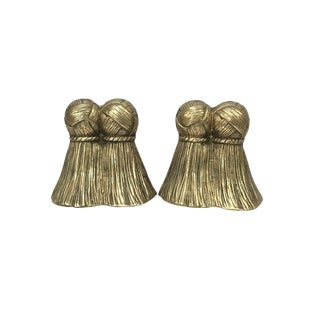 Brass Tassels Bookends- a Pair For Sale