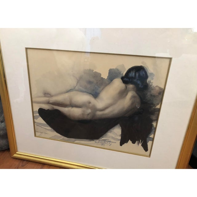 1930s 1939 Vintage Original Lev Tchistovsky Reclining Nude Watercolor Painting For Sale - Image 5 of 8