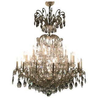 Schonbek German Monumental Painted Brass & Crystal Chandelier For Sale