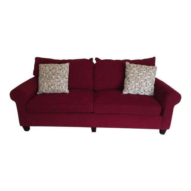 Contemporary Bassett Chenille Sofa For Sale