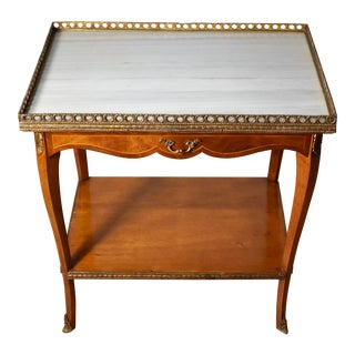 1920s French Louis XV Satinwood White Marble Top Applied Bronze Side Table For Sale