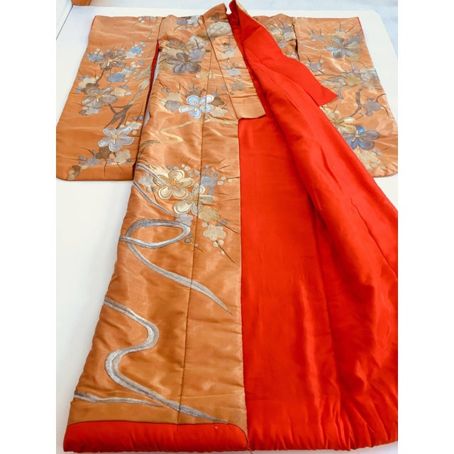 Mid 20th Century Vintage Brocade Japanese Ceremonial Kimono in Orange, Gold and Silver For Sale - Image 5 of 13