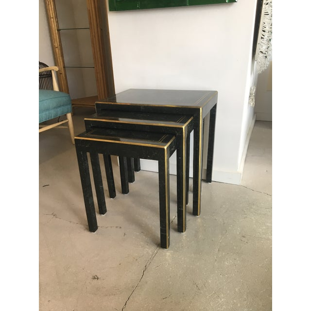 Maitland - Smith 1970s Art Deco Tessellated Stone Nesting Tables - Set of 3 For Sale - Image 4 of 9