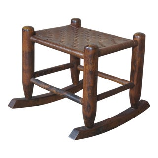 Antique Shaker Rattan Rocking Footstool Ottoman For Sale