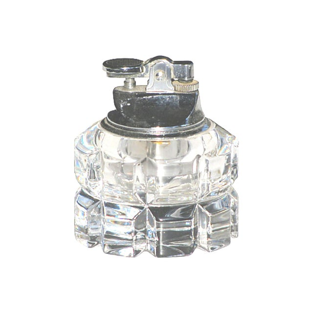 Elegant heavy crystal lighter with deeply carved facets. Perfect accessory for any decor. No maker's marks. Very good...