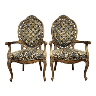 Vintage Victorian Style Gold Blue and Green Velvet Floral Chairs - a Pair For Sale