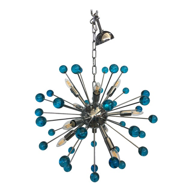 Blue Murano Glass Chandelier in Sputnik Style With a Chrome Frame For Sale