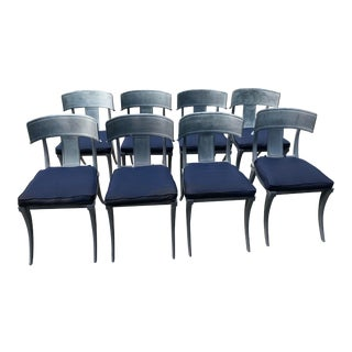 Set of 8 Restoration Hardware Iron Klismos Luxe Side Chairs For Sale