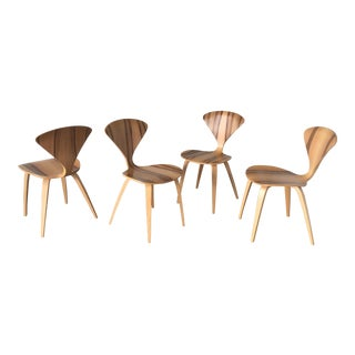 Mid-Century Modern Norman Cherner Natural Beech Sides Chairs - Set of 4