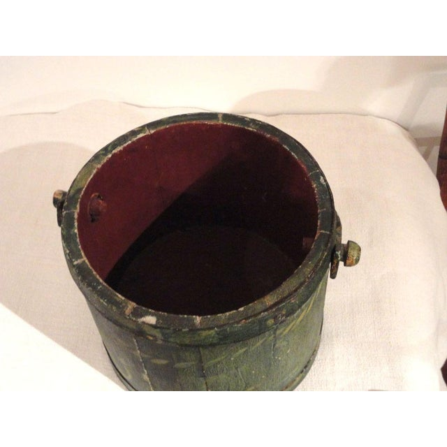 19th Century Nautical Original Painted and Decorated Water Bucket from NE - Image 4 of 8