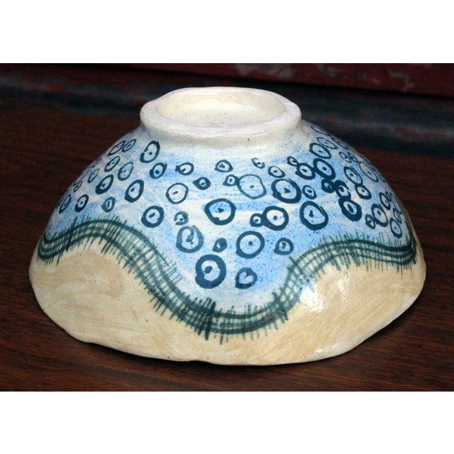 Vintage Marilyn Andrews Massachusetts Folk Art Art Pottery Bowl For Sale - Image 4 of 6