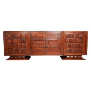 Gaston Poisson Marble, Bronze & Walnut Credenza For Sale