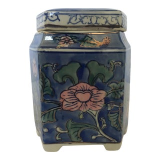 Vintage Chinoiserie Hand Painted Porcelain Covered Tea Box For Sale