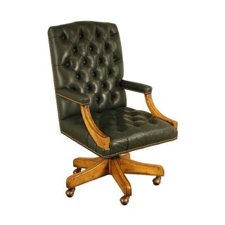 Guy Chaddock Green Tufted Leather Executive Office Desk Chair For Sale