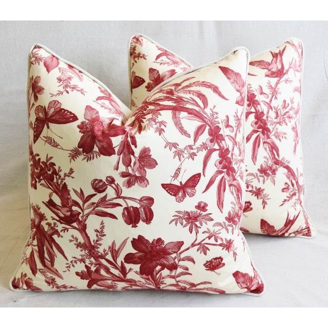 "P. Kaufmann Aviary & Floral Toile Feather/Down Pillows 23"" Square - Pair For Sale - Image 12 of 13"