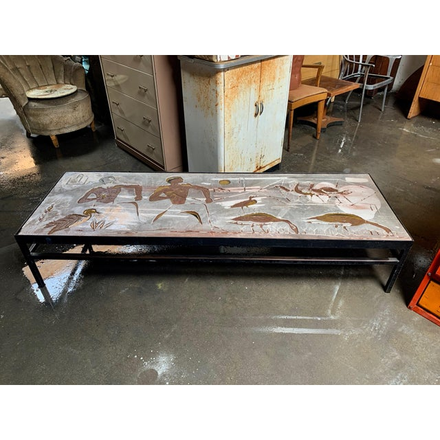 1960s Long Heavy Mid-Century Signed Stone Egyptian Scene Carved Coffee Table For Sale - Image 11 of 11