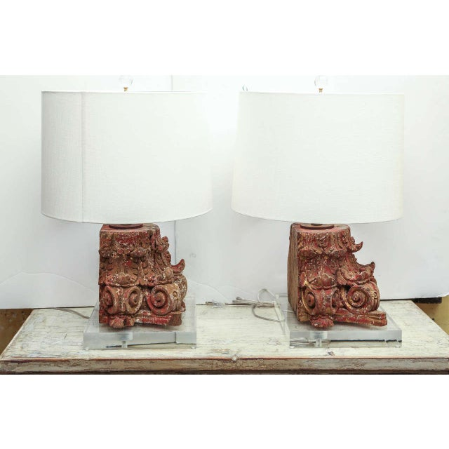 2010s Lamp Fashioned From Carved Capital For Sale - Image 5 of 6